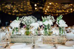 All white wedding centrpiece