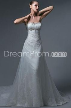 Pretty A-line/Princess Strapless Floor-length Chapel Embroidery Bridal Gowns (3AA0197)