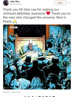 Rest In Peace Stan Lee. I want to take time to give my thanks to this amazing person. He not only created all of our favourite characters, but he has to and will continue to put a smile on our faces even though he sadly isn't with us anymore. He makes me believe that I can be someone extraordinary one day. Stan Lee, you are missed. And although your time here on earth is done, I know you will live on in the hearts of millions. You'll definitely live on in mine. Excelsior❤️ Marvel Heroes, Marvel Avengers, Marvel Dc Comics, Peliculas Marvel, Disney Marvel, Stephen Hillenburg, Marvel Movies, Superfamily, Denial