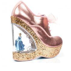 Irregular Choice I Cinderella 'Home before 12' pink, wedge with Cinderella figurine (