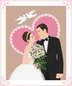 Bride and groom wedding invitation vectors