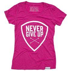 Never Give Up Fuchsia Women's T-Shirt | walk in love.