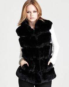 DVF Funnellia Fur Vest in rabbit fur/suede $975