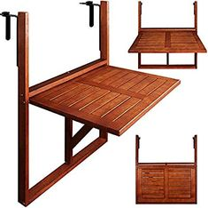 This lovely Wooden Balcony Hanging Table is ideal for balconies without space. The table is made of tropical acacia hardwood. The Wooden Balcony Hanging Table is foldable too, so when it is not in use you have extra free space. Small Balcony Design, Tiny Balcony, Small Balcony Decor, Apartment Balcony Decorating, Apartment Interior Design, Casa Mix, Patio Railing, Folding Walls, Foldable Table
