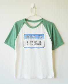 Hello I'm a mermaid shirt word tshirt funny tshirt by MoodCatz