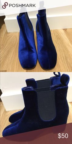 Blue Velvet Shoes Blue velvet shoes. Worn only once! Shoes Ankle Boots & Booties