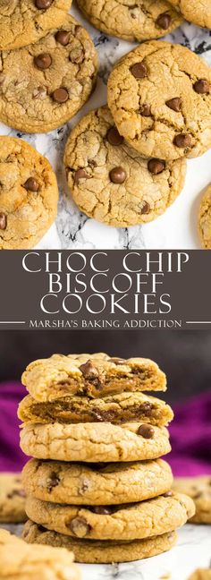 Chocolate Chip Biscoff Cookies - Deliciously thick and chewy Biscoff cookies that are loaded with chocolate chips, and have a surprise Biscoff centre! Biscoff Recipes, Best Cookie Recipes, Best Dessert Recipes, Sweet Recipes, Baking Recipes, Delicious Desserts, Party Recipes, Yummy Food, Biscoff Cookies