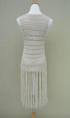 6246649bfa4 Black Long Fringed Crochet Vest Festival Top by TinaCrochet2016 Crochet Vest  Pattern