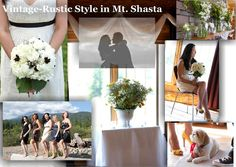 For this romantic and intimate wedding in Mt. Shasta,  I chose a happy color palette of yellow, white, earth-tones, and splashes of purple and fushia. Vintage rustic elements included vintage lace, antique French linen and hemp cloths, pewter containers, mason jars, apothecary bottles, and lots and lots of pretty cake platters. Wedding took place at Gilden Lodge in Mt. Shasta, CA. Photography by Karrie Ann, www.livingshastaphotography.ifp3.com