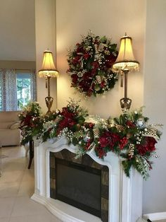 Christmas Wreath and Garland.Most Luxurious Holiday Decor Set with 96 cordless light each with timer Couronne de Noel et Garland.Most Luxurious Holiday Decor Set image 4 Christmas Staircase, Christmas Swags, Christmas Mantels, Christmas Home, Christmas Holidays, Christmas Crafts, Cheap Christmas, Christmas Ideas, White Christmas