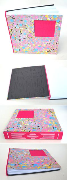 handmade album with marbled covers by Mary Steibel