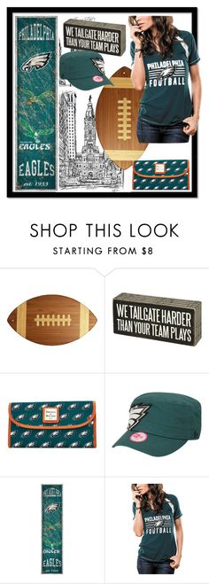 """""""Eagles"""" by lulala002 ❤ liked on Polyvore featuring Totally Bamboo, Primitives By Kathy, Dooney & Bourke, New Era, Fan Creations, NFL, philadelphia and philadelphiaeagles"""