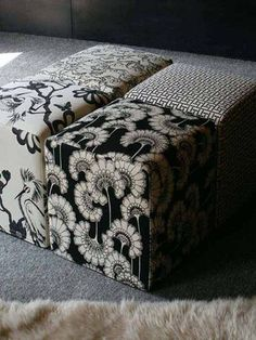 Yes please... a set of square ottomans in Florence Broadhurst's black & white prints.