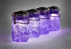 Quick & easy lantern ideas.  1.  Put colored tissue paper inside mason jar.  2.  Drop in flameless candle whala patio/party latern
