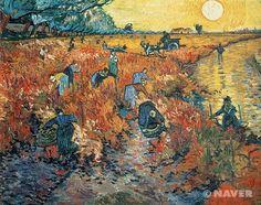 """아를의 붉은 포도밭 (Red Vineyards at Arles) 빈센트 반 고흐(Vincent Van Gogh)   작품해설 : 반 고흐의 이 작품은 1888년 폴 고갱과 함께 생활했던 아를의 야외에서 그린 작품이다. 반 고흐는 동생 테오(Theo)에게 이 그림에 대해 """"비가 내린 뒤 석양이 땅을 보라색으로 바꾸고 포도 잎을 와인처럼 붉게 물들일 때 그린 것""""이라고 설명했다. 색채 표현에 있어서 그는 각각의 모티프에 보색을 사용했는데, 특히 밝은 노란색, 붉은색, 파란색을 과감하게 사용했다. 또한 붉은 포도밭에서 일하고 있는 농부들의 표현이나, 일몰의 강력한 빛의 영향을 보여주는 주황색의 표현이 두드러진다.   감상평 : 색채의 표현이 두드러지는 작품으로 해와 완만한 구도의 포도밭을 다채로운 색으로 표현함으로써 황홀함과 더불어 해질녘의 안락함을 느낄 수 있다."""