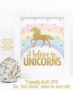 I Believe in Unicorns Printable Sign, Rainbow Unicorn Birthday Party Decorations, Printable Unicorn Nursery Decor Little Girls Room Wall Art - SprinkledDesigns.com