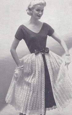 Vintage Knitting PATTERN Designer Sheath Dress Short Jacket Over Full Skirt Set OverskirtSheath