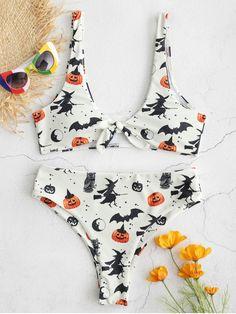 955cf05728 ZAFUL Halloween Knotted Bat Pumpkin Bikini Set  ZAFUL  Halloweenbikini   Halloweencostumes Swimming Outfit