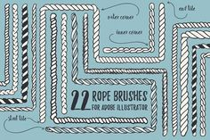 22 Vector Rope Brushes by Anastasiia Macaluso on @creativemarket