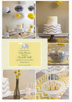 Baby Shower Inspiration - Yellow and Grey Chevron visit our blog for more inspirational party ideas