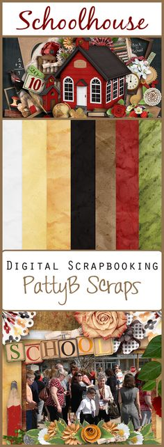 Schoolhouse Collection by PattyB Scraps and Sherah Kraan.  Bold colors grace this nostalgic digital scrapbooking kit, this is perfect for scrapping about graduation, first day, or last day of school.