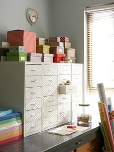 Stow Away- In a home that's short on storage space, these white metal file drawers are staple organizational tools. The multiple-drawer cabinets are perfect places to stow away toys and media gadgets, and they work well for keeping art supplies organized in the office.