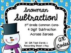 Snowman Subtraction- Subtraction With Regrouping Across Ze