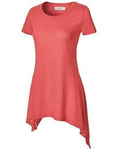 Made By Johnny Women's Short Sleeve Handkerchief Hem Tunic - Price: $9.99  #MadeByJohnny