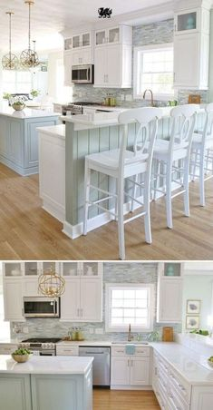 Coastal Kitchen Makeover 2019 This white kitchen with seaside hues by Sand & Sisal provides a lovely backdrop for any hosting occasion. [Featured Design: Torquay] The post Coastal Kitchen Makeover 2019 appeared first on House ideas. Kitchen Ikea, Kitchen Redo, New Kitchen, Kitchen Backsplash, Country Kitchen, Kitchen White, Kitchen Bars, Colonial Kitchen, Kitchen With Bar Counter