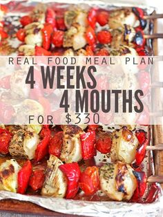 Meal Ideas Monthly meal plan on a budget this real food meal plan is for anyone looking to save money on food It feeds a family of 4 for 330 includes simple recipes and. Monthly Meal Planning, Family Meal Planning, Budget Meal Planning, Cooking On A Budget, Healthy Family Meal Plans, Simple Meal Plans, Food On A Budget, Simple Meal Ideas, Family Meals
