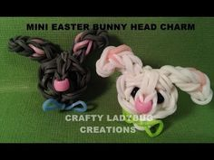 Rainbow Loom Mini EASTER BUNNY FACE Charm. Designed and loomed by Crafty Ladybug. Click photo for YouTube tutorial. 04/08/14