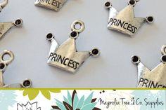 Princess Crown Charm, 19mm, silver rhinestone crown, 10 pcs, princess charms, princess pendants, chunky charm, bottle cap charms (JC10-377)  $2.25/10