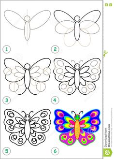 Illustration about Vector image. Illustration of book, page, paper - 74350468 Art Drawings For Kids, Drawing For Kids, Easy Drawings, Animal Drawings, Easy Butterfly Drawing, Butterfly Art, Easy Drawing Steps, Step By Step Drawing, Art Papillon