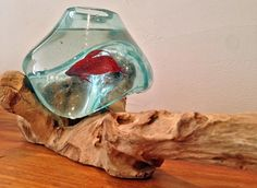 Hand blown recycled glass fish bowl melted over organically shaped teak wood piece.