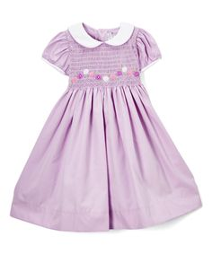 Look at this Fantaisie Kids Lavender Smocked A-Line Dress - Infant & Toddler on #zulily today!