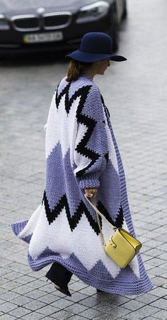 Statement knit coat and a yellow Valentino bag