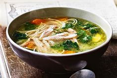 A warming bowl of flavor packed broth is the ultimate healthy comfort food - from traditional chicken noodle, to Bill Granger& eat-your-greens broccoli soup - we chart the knockout soup recipes that& heat up your heart and fill your stomach. Soup Recipes, Chicken Recipes, Cooking Recipes, Healthy Recipes, Delicious Recipes, Recipies, Cleanse Recipes, Fast Recipes, Delicious Dishes