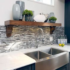 Gray tile backsplash with farmhouse sink
