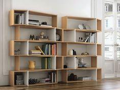 One Module Library Bookcase – Home Office Design Diy Farmhouse Furniture, Home Office Furniture, Modern Furniture, Furniture Legs, Furniture Design, White Shelving Unit, White Shelves, Wall Shelves, Bookshelf Design