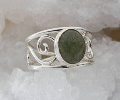 Sterling Silver Moss Agate Ring/Green Moss Agate Ring/Sterling Oval Cabochon Ring/R9608