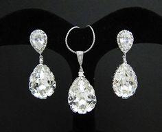 Bridal Earrings Bridal Necklace Clear White Swarovski Crystal Tear drops Bridal Jewelry Set. Etsy shop: earringsnation