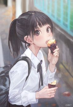Anime Kawaii Girl with Ice Cream - Fille Anime Cool, Art Anime Fille, Cool Anime Girl, Pretty Anime Girl, Beautiful Anime Girl, Anime Art Girl, Anime Love, Anime Girls, Cute Manga Girl
