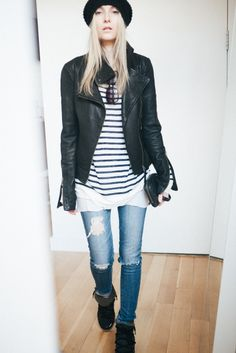 WEARING ARITZIA MACKAGE KENYA LEATHER JACKET BLACK | T BY ALEXANDER WANG L/S LINEN STRIPE TEE NAVY AND WHITE | ARITZIA DEAN LAYERING TANK WHITE | AG THE ANKLE SKINNY DESTROYED JEANS | ISABEL MARANT NOWLES BOOTS BLACK | ARITZIA WILFRED KNIT HAT BLACK | ARITZIA WILFRED LEATHER GLOVES BLACK | ALEXANDER WANG FUMO CLUTCH BLACK | OLIVER PEOPLES CANDICE SUNGLASSES BLACK