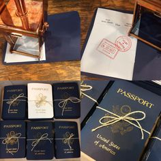 Passport menus created for a travel-themed rehearsal dinner.