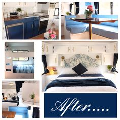 This is a renovation of a 1989 Windsor Weekender caravan/RV/Camper/Poptop. The colour scheme used is white, blue, navy, gold and timber. It has beach theme about it. It is a 4 berth with a back bedroom that has a double bed that lifts up for storage with custom made single bunk beds at the front. We used ikea flooring, lighting and Navy blackout curtains throughout in the van. Bedding from Temple & Webster. Tiles in kitchen are stick on self adhesive tiles. Paint is Dulux Wash and Wear.
