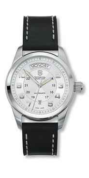My very first self-winding watch :)  Victorinox Ambassador Day & Date  Mechanical self-winding movement, 38 hour power reserve