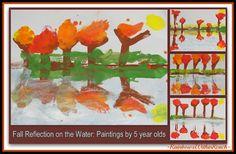 fall kindergarten art projects | Fall Leaf Reflection Paintings in Preschool (Fall RoundUP via ...