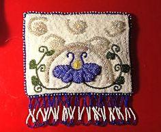 Blue flower raised beadwork pouch, by erin davis