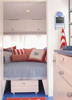 Nautical themed caravan interior