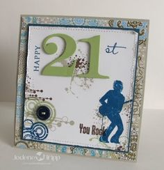 awesome card for a young man - You Rock (grunge, TE) Old Birthday Cards, Birthday Cheers, Man Birthday, Birthday Wishes, 21 Cards, Kids Cards, Birthday Numbers, Stamping Up Cards, Masculine Cards
